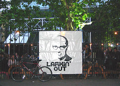 Philip Larkin stencilled on a club night banner