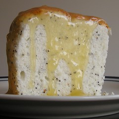 Poppyseed angel food cake with lemon curd