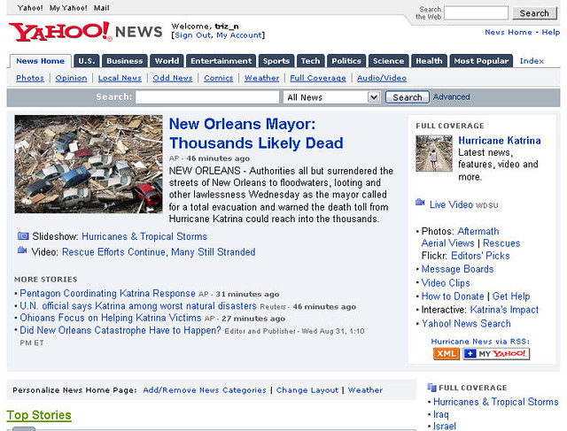 User Generated Content - Edited - on Yahoo! News Front Page (see note ...
