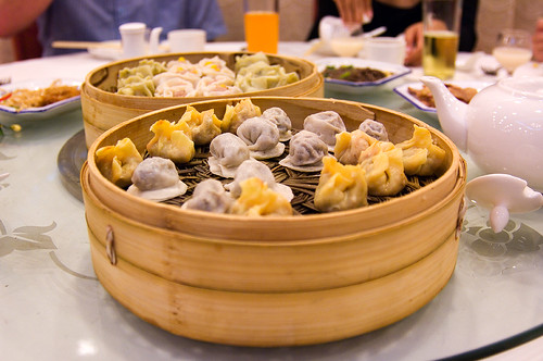 Two steamers filled with dumplings