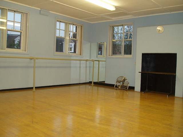 dance studio bars with side mirrors light and airy