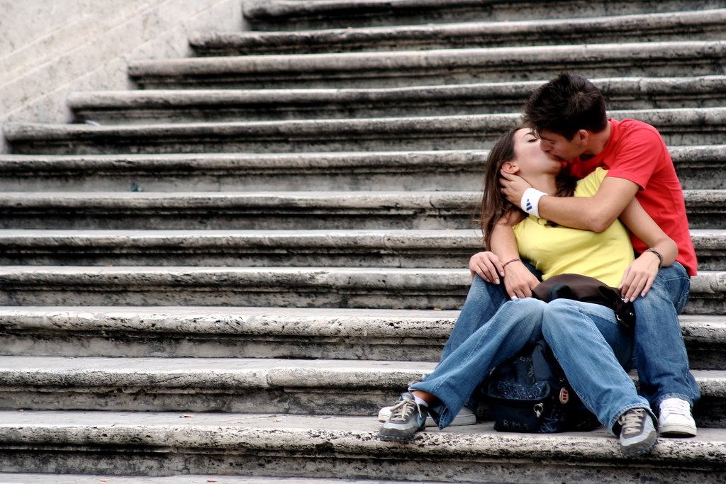 kiss on the steps
