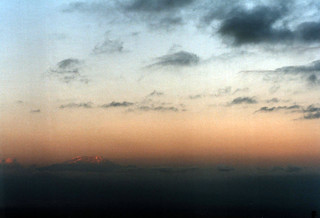 Sunset over Kilimanjaro from Mount Meru