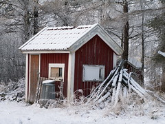 barn, hut, winter, wood, snow, shack, house, log cabin, home, rural area,