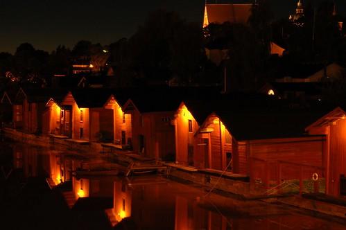 red night suomi finland river nikon d70 huts porvoo borgå