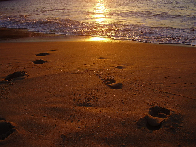 Sunset, footprints, beach | Flickr - Photo Sharing!