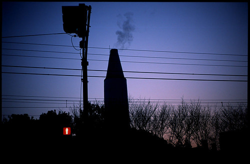 evening scene with a smokestack / 煙突のある夕景