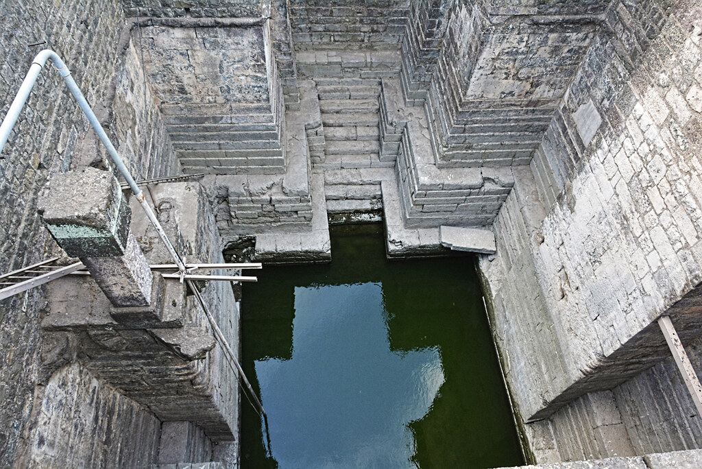 A view of  the interior of Gola Baori, a step well within Jahaz Mahal