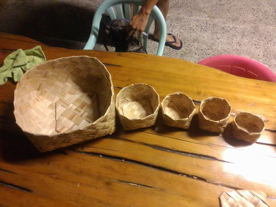 月桃編織成的籃子們