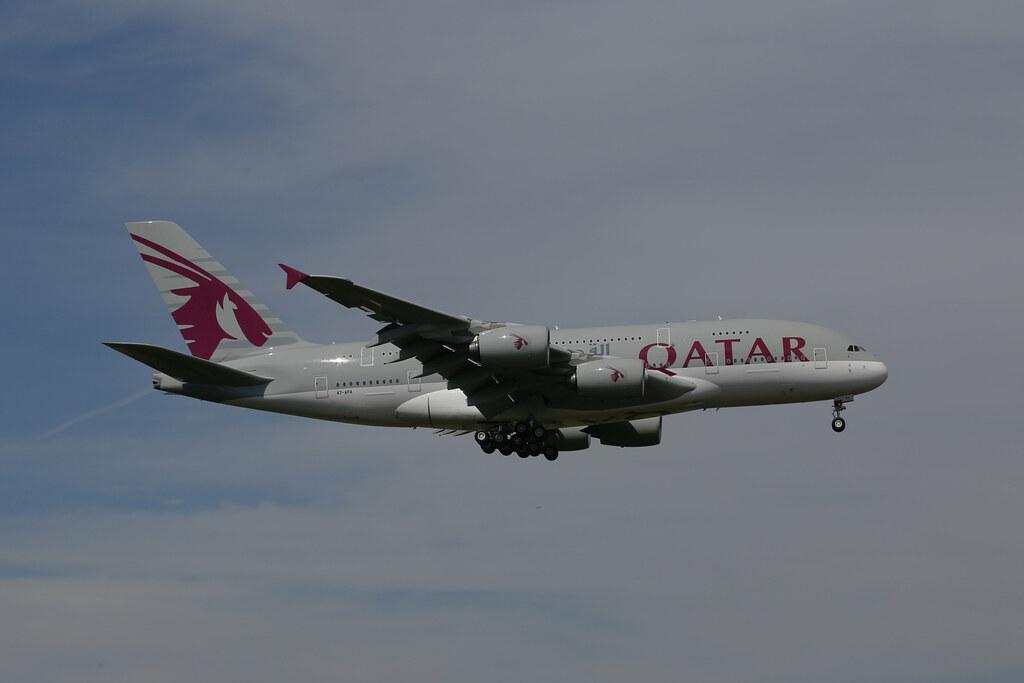 Qatar Airways Airbus A380 in London Heathrow