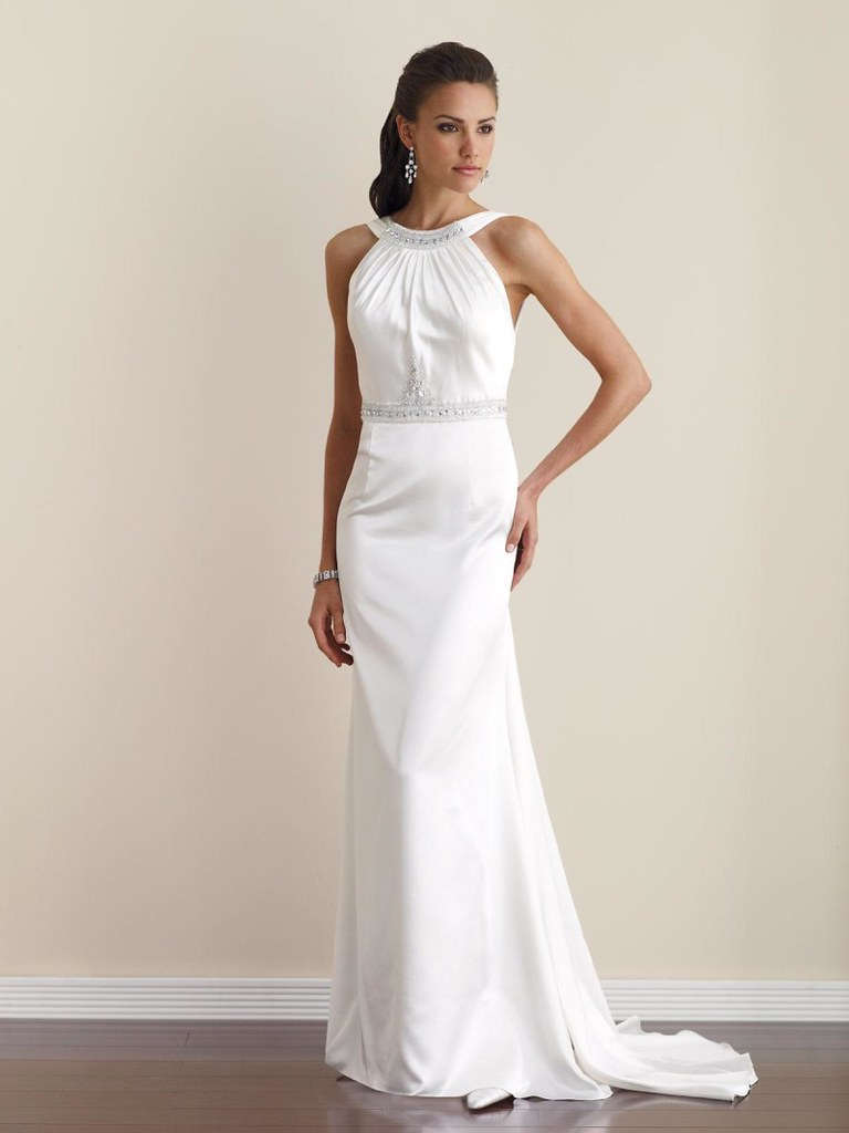 Elegant High Neck Beaded Sheath Informal Simple Wedding Dress