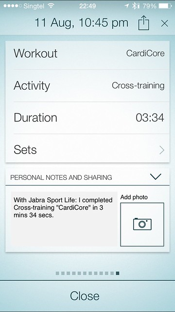 Jabra Sport iOS App - Workout Completed