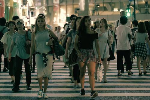 Tourists at Shibuya Crossing