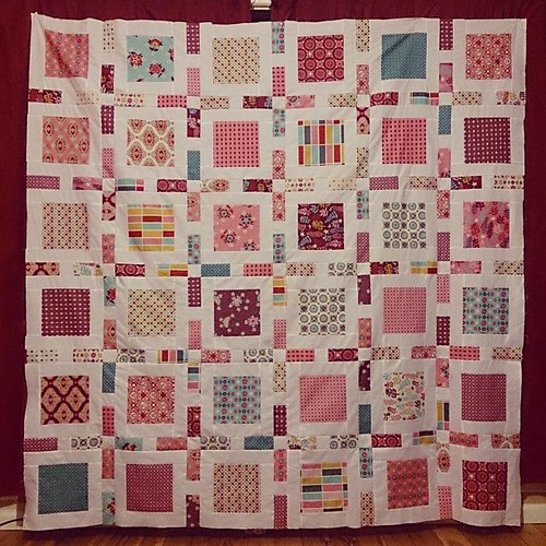 "Quilt for my mother's Soroptimists chapter to raffle off. Quilt stats: 76"" square, fabric is Domestic Bliss by Liz Scott, pattern is Swell by Camille Roskelley."