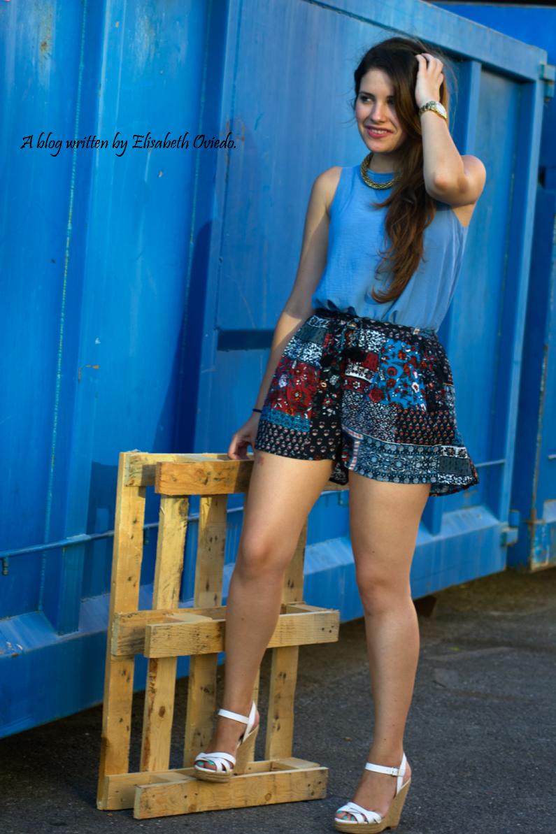 falda azul STRADIVARIUS HEELSANDROSES (2)