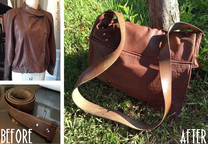 Recycled Leather Fold-Over Bag - Before & After