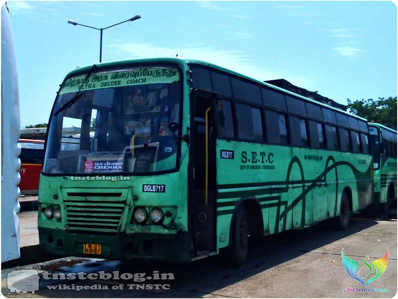 TN-01N-9767 DGL B 717 of Dindigul Depot Route 163 UD Bodi -Chennai via Theni, Dindigul, Trichy.
