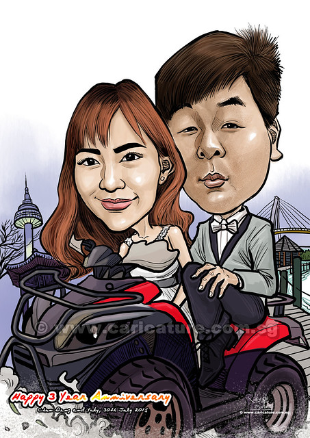 wedding couple digital caricature (watermarked)