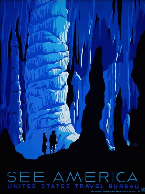 See America poster for the United States Travel Bureau promoting tourism, showing two people in caverns., probably Carlesbad