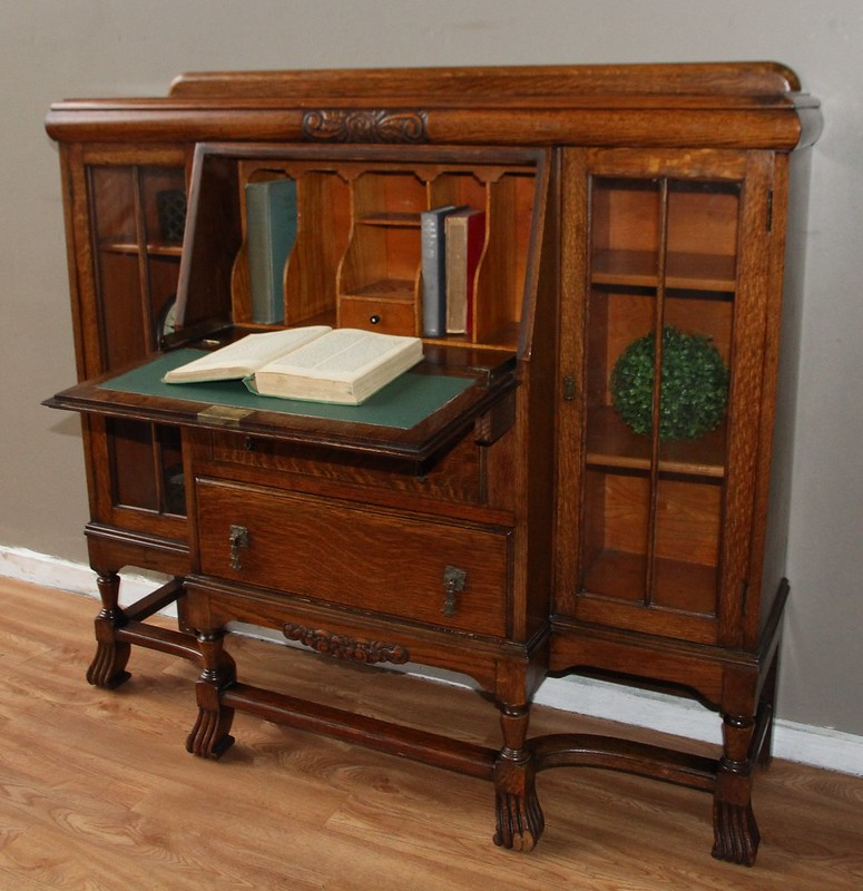 English oak antique vintage bureau secretaire bookcase for Bureau secretaire