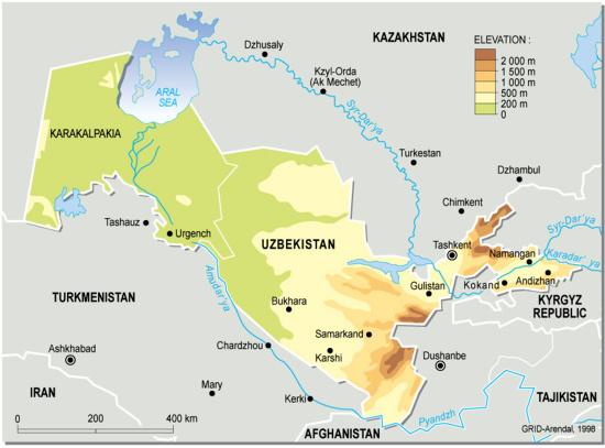 Uzbekistan, topographic map | GRID-Arendal