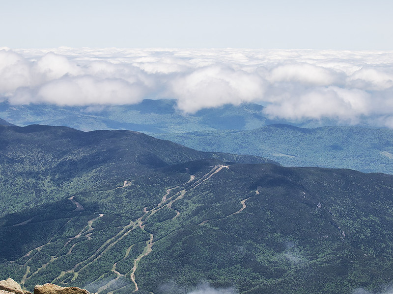 Looking south at Wildcat Mountain Ski slope from top of Mt. Washington
