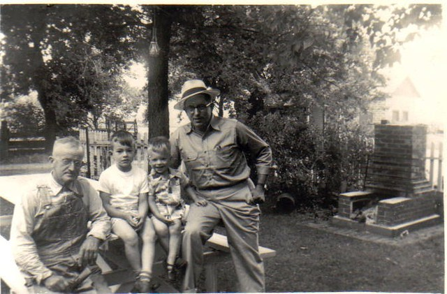 Grandpa Hetzler, Steve, Paul and Kenneth, Fathers Day 1951