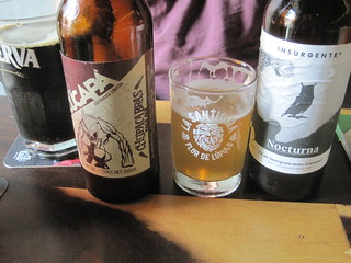 Cervezas at La Santisima: Porter, Cream Ale, and Cucapa Chupacabras (Pale Ale), Insurgente Nocturna (Black IPA)