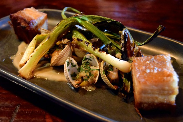 Pork Belly, Griddled Spring Onions & Clams at The Finnieston, Glasgow