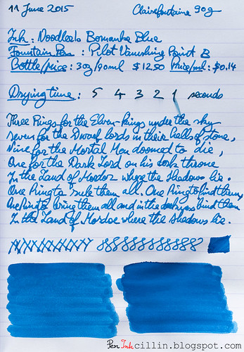 Noodler's Bernanke Blue on Clairefontaine