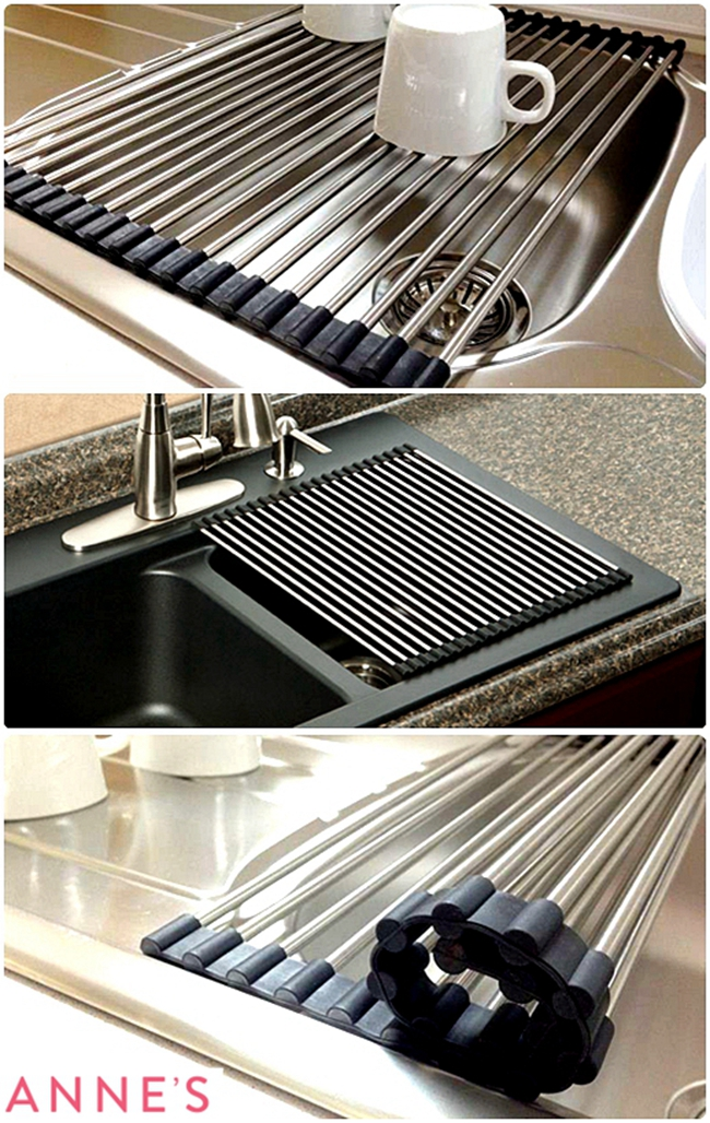 stainless steel kitchen sink drainer roll heat mat folding surface protector ebay. Black Bedroom Furniture Sets. Home Design Ideas