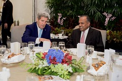 U.S. Secretary of State John Kerry sits with Singapore Foreign Minister K. Shanmugam on August 4, 2015, at the outset of a working breakfast at the Shangri-La Hotel in Singapore, Singapore, during a visit to meet with Prime Minister Lee Hsien Loong, discuss regional issues, and celebrate the country's 50th anniversary. [State Department Photo/Public Domain]