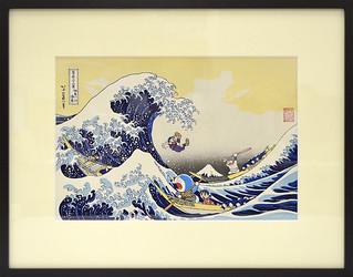 哆啦A夢浮世繪第三彈,現身浮世繪傑作「神奈川沖浪裏」「ドラえもん」浮世絵第3弾「神奈川沖浪裏」
