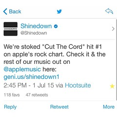 """Via @Shinedown: We're stoked """"Cut The Cord"""" hit #1 on apple's rock chart. Check it & the rest of our music out on @applemusic here: http://t.co/Mwq6R1CoDU"""