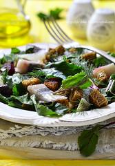 Salad with fresh organic beetroot,herrings and rye…