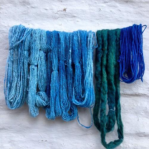 Indigo on handspun, mohair and merino singles. #dyeing #botanicaldyeing #indigo #spinnersofinstagram #handspun