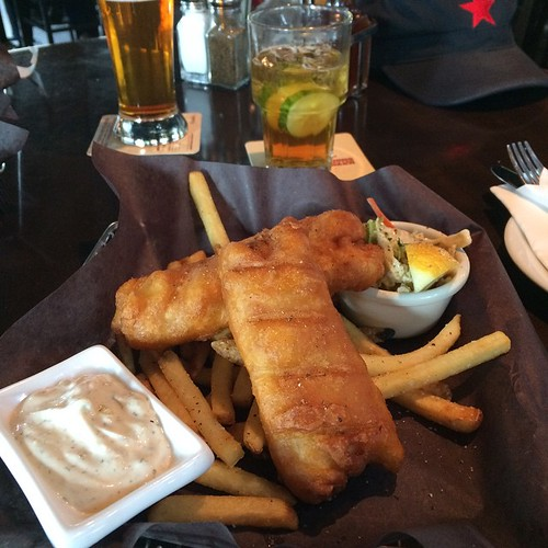 Fish and chips, and Pimms and Sprite. #yegfood