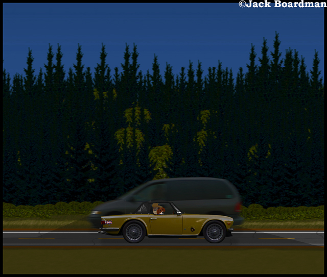 Boomer & Daisy pass the Macho Minivan
