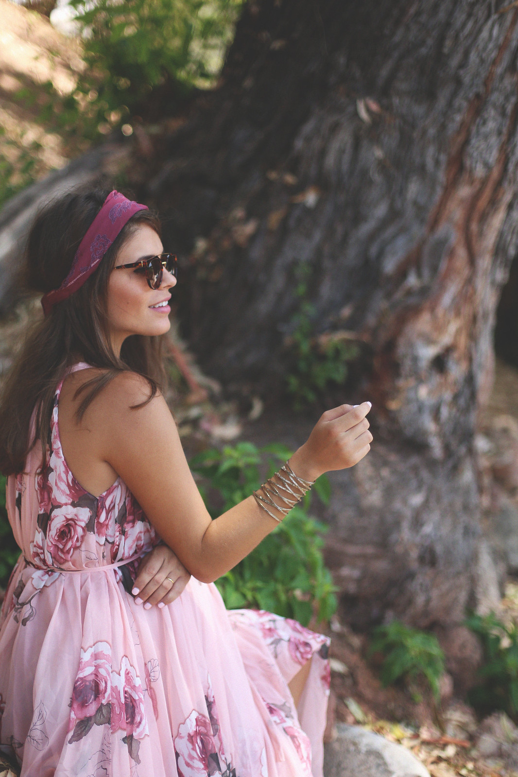 14. floral print long dress - jessie chanes - pregnancy