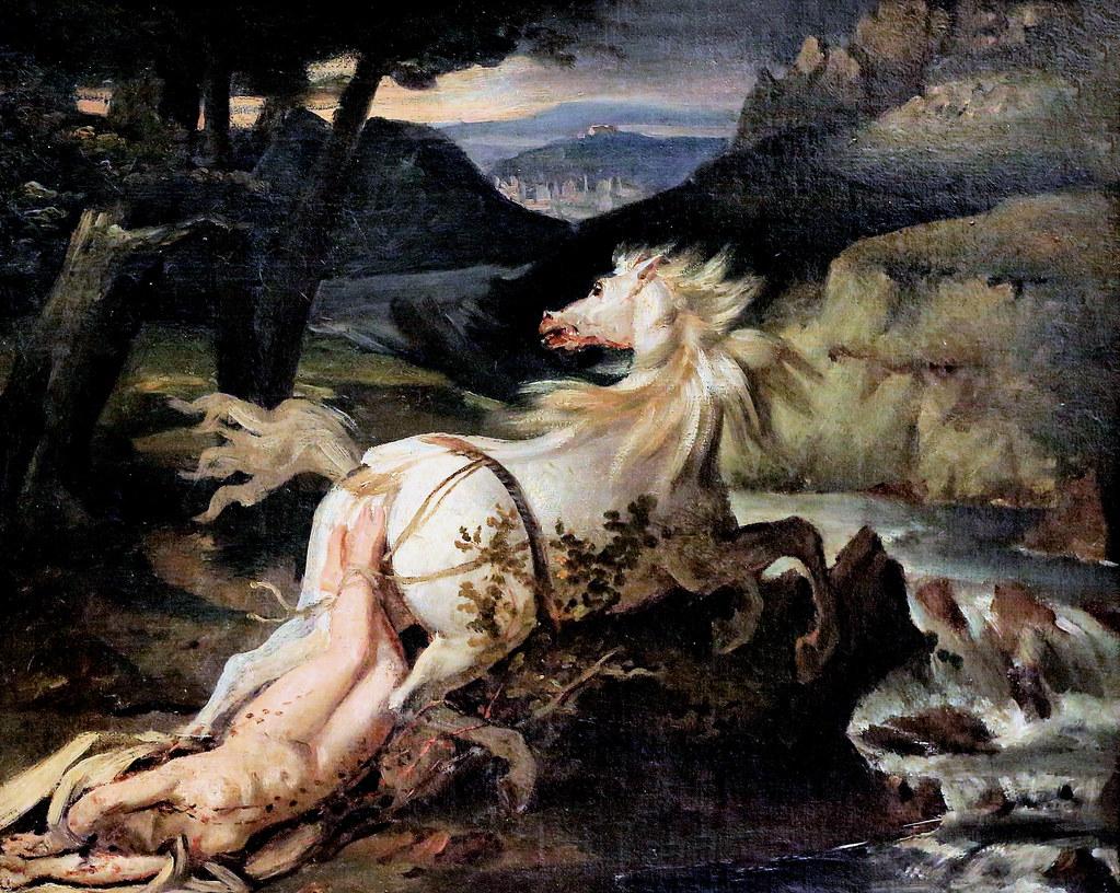 IMG_7266 Théodore Géricault. 1791-1824. Paris. La  mort de la reine Brünehilde. The death of Queen Brunhilde. vers 1820. Bremen