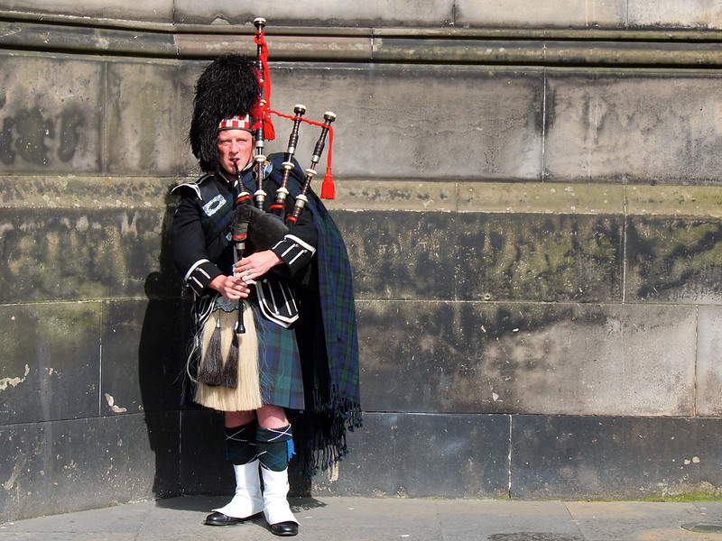 A bagpiper on the Royal Mile in Edinburgh, Scotland