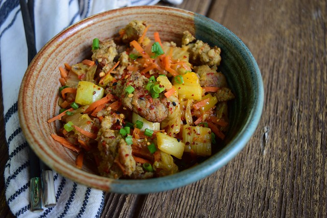 One Pan Pork & Korean-Spiced Napa Cabbage