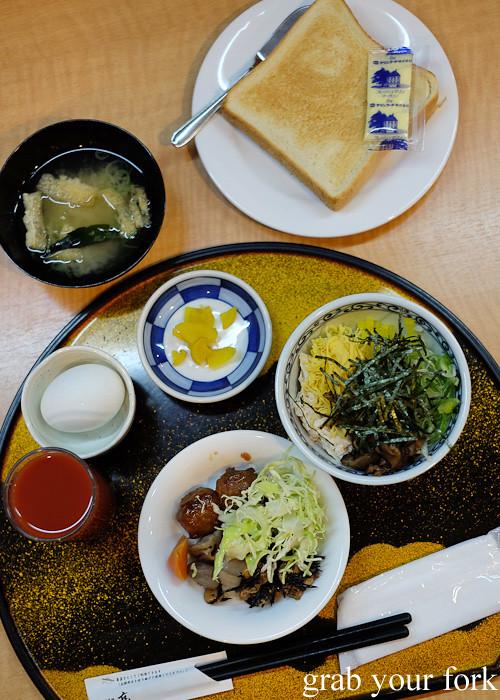 Japanese hotel breakfast in Kagoshima, Kyushu
