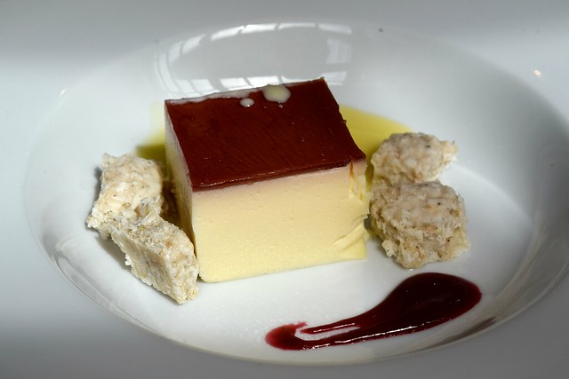 Lemon & pomegranate bavarois served with Kopra Pak, lemon verbena & white chocolate cream at The Ambrette, Canterbury