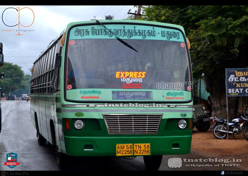 TN-58N-2256 of Puthukulam Depot Route Thondi - Kumuli via Sivagangai, Madurai, Theni, Cumbum.