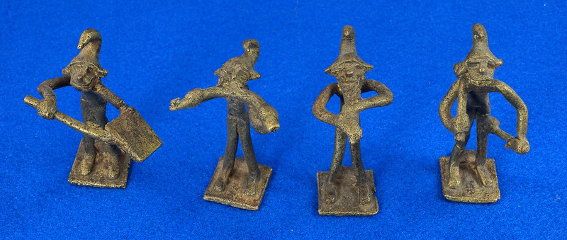 RD14630 4 Vintage African Hand Made Folk Art Primitive Figurines Solid Cast Brass Burkina Faso Yoruba West Africa DSC07073