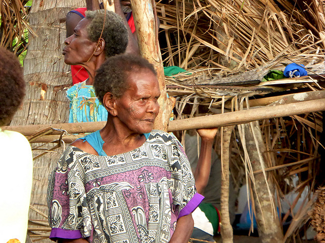 Old Ni-Vanuatu women looking on in desperation after the Natural Disater of Cyclone Pam