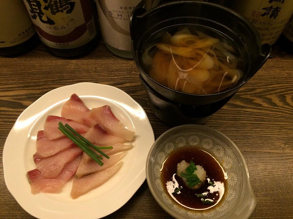 Yellowtail in shabu-shabu style