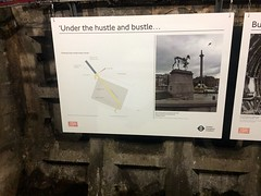 Information board explaining the construction tunnel at Charing Cross Underground station