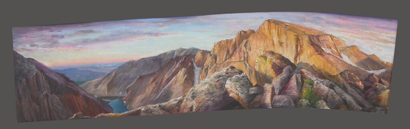 "Pastel on Paper | Not available | Notes: I wanted to do an epic panorama of Long's Peak that wasn't the usual stuff I'd seen in pictures, and which caught the glory of mountaineering in the Rocky Mountain National Park. ""Chasm Lake Overlook"" was the spot that fit the bill, and I did a number of studies on location."